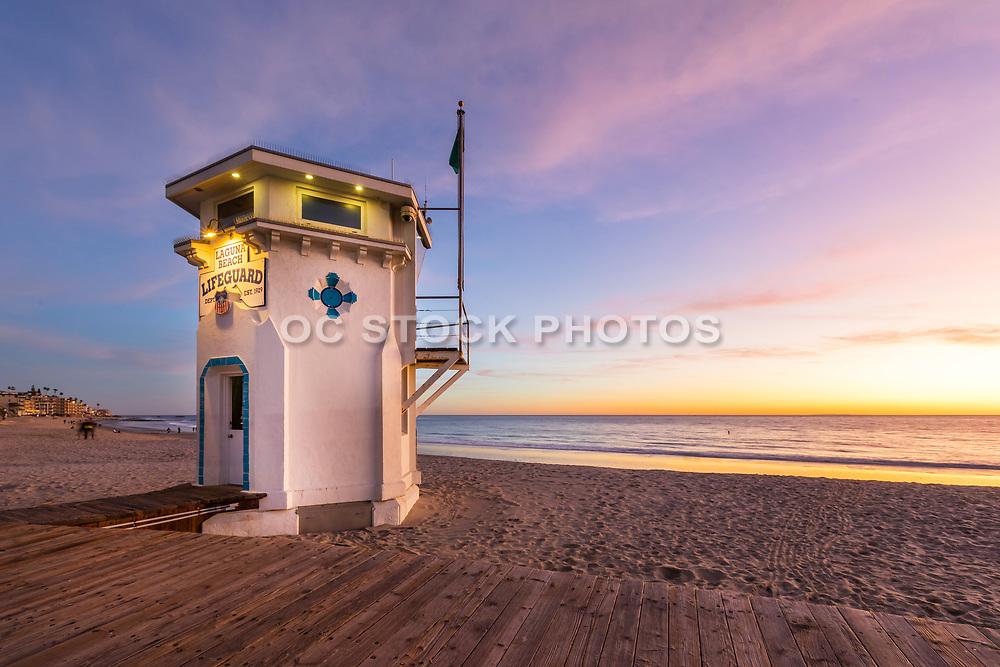 Early Winter Evening at Main Beach in Laguna Beach California