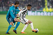 Alex Sandro of Juventus and Raphael Varane of Real Madrid during the UEFA Champions League, quarter finals, 1st leg football match between Juventus and Real Madrid on April 3, 2018 at Allianz Stadium in Turin, Italy - Photo Morgese - Rossini / ProSportsImages / DPPI