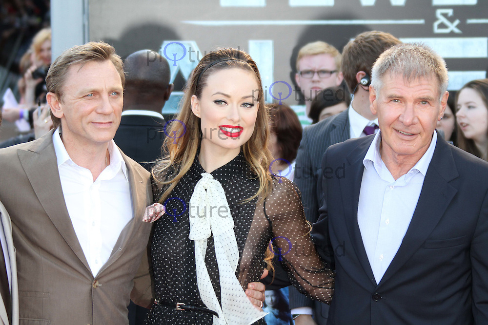 Daniel Craig; Olivia Wilde; Harrison Ford Cowboys & Aliens UK Premiere, The O2, London, UK, 11 August 2011:  Contact: Rich@Piqtured.com +44(0)7941 079620 (Picture by Richard Goldschmidt)