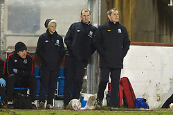 NEWTOWN, WALES - Friday, February 1, 2013: Wales' manager Jarmo Matikainen with assistant Jessica Fishlock during the Women's Under-19 International Friendly match against Norway at Latham Park. (Pic by David Rawcliffe/Propaganda)