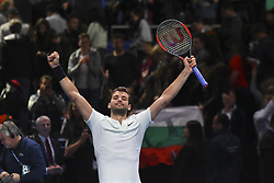 November 18, 2017 - London, England, United Kingdom - Grigor Dimitrov of Bulgaria celebrates to the crowd after his three set victory against Jack Sock of the United States in their semi final match at the Nitto ATP World Tour Finals at O2 Arena on November 18, 2017 in London, England. (Credit Image: © Alberto Pezzali/NurPhoto via ZUMA Press)