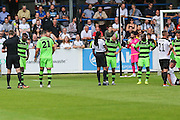 Forest Green Rovers Dale Bennett (6) is shown a yellow card for a tackle on Ricky Miller during the Vanarama National League match between Dover Athletic and Forest Green Rovers at Crabble Athletic Ground, Dover, United Kingdom on 10 September 2016. Photo by Shane Healey.