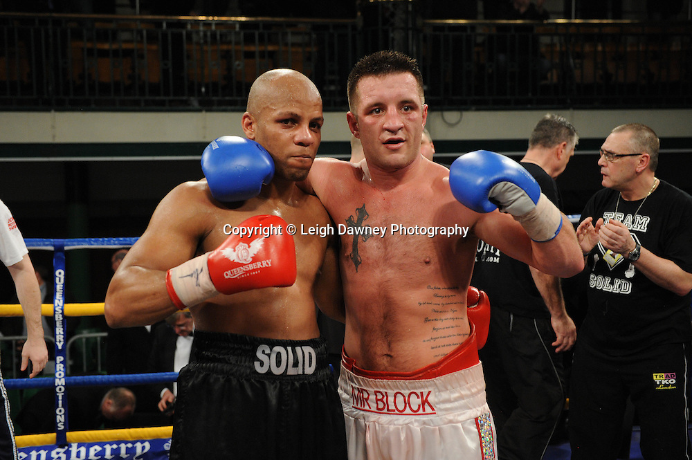 Shane McPhilbin (white shorts) defeats Leon Williams claiming the British Cruiserweight Championship at York Hall, Bethnal Green, London on Friday 13th January 2012. Queensbury Promotions © Leigh Dawney 2012
