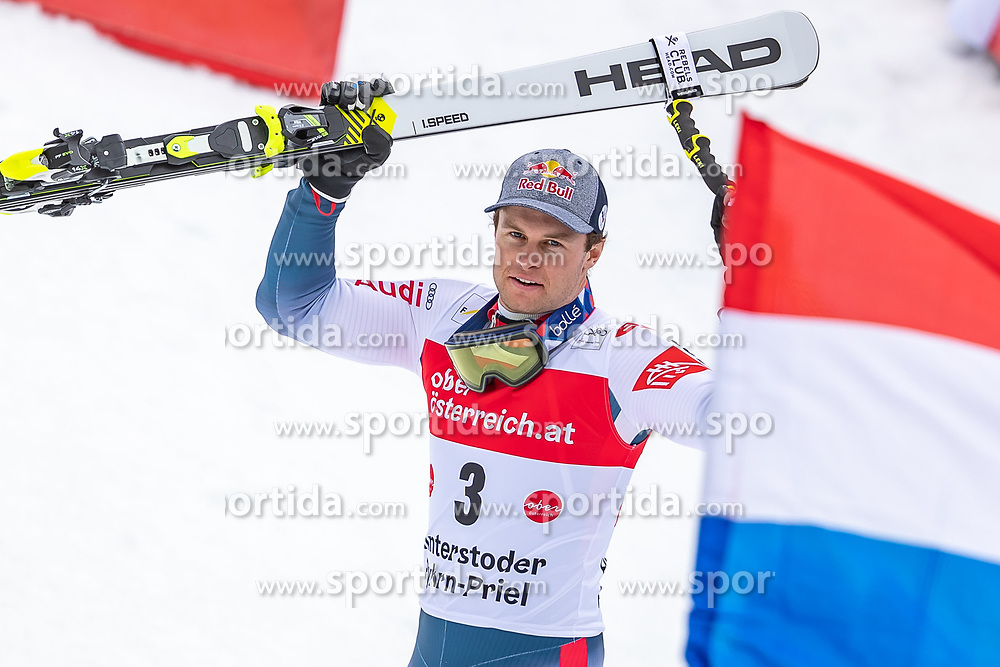 02.03.2020, Hannes Trinkl Weltcupstrecke, Hinterstoder, AUT, FIS Weltcup Ski Alpin, Riesenslalom, Herren, Siegerehrung, im Bild Alexis Pinturault (FRA, 1. Platz) // winner Alexis Pinturault of France during the winner ceremony for the men's Giant Slalom of FIS ski alpine world cup at the Hannes Trinkl Weltcupstrecke in Hinterstoder, Austria on 2020/03/02. EXPA Pictures © 2020, PhotoCredit: EXPA/ Johann Groder