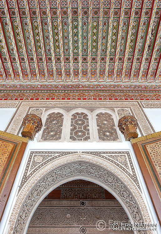 Detail of the entrance to one of the rooms in the Bahia Palace in Marrakech, Morocco.