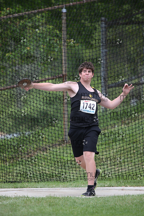 Blake Patterson of South Lincoln HS - Smithville competes in the midget boys discus at the 2013 OFSAA Track and Field Championship in Oshawa Ontario, Thursday,  June 6, 2013.<br /> Mundo Sport Images / Sean Burges