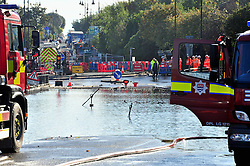 © Licensed to London News Pictures. 09/10/2016<br /> Crayford town centre in Kent is closed and flooded this morning with hundred of homes across Dartford,Wilmington,Bexley,Crayford,Stone without water because of an over night issue with repairs by Thames Water at Crayford Road,Crayford.    Residents at Townhall Square have been flood with the under ground car park full of water. <br /> <br /> Photo credit :Grant Falvey/LNP