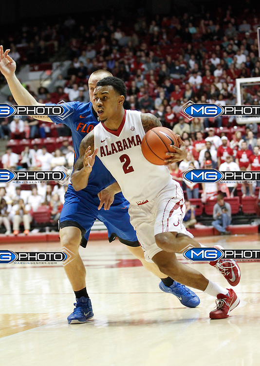 Jan 27, 2015; Tuscaloosa, AL, USA;  Alabama Crimson Tide guard Ricky Tarrant (2) drives to the basket against the Florida Gators at Coleman Coliseum. the Gators defeated the Tide 52-50. Mandatory Credit: Marvin Gentry-USA TODAY Sports