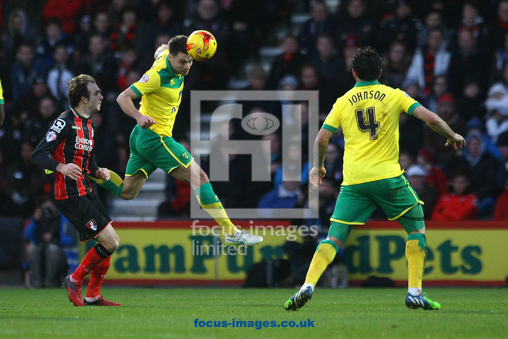 Russell Martin of Norwich wins a header during the match at the Goldsands Stadium, Bournemouth<br /> Picture by Paul Chesterton/Focus Images Ltd +44 7904 640267<br /> 10/01/2015