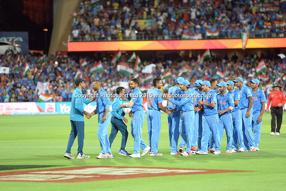Indians congragulate each otehr after their victory during the ICC Cricket World Cup match between India and Pakistan at Adelaide Oval in Adelaide, Australia. Sunday 15 February 2015. Copyright Photo: Raghavan Venugopal / www.photosport.co.nz
