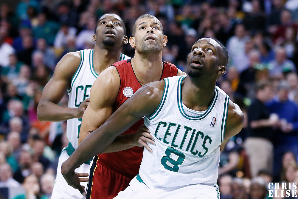 18 March 2013: Boston Celtics power forward Jeff Green (8) vies for the rebound with Miami Heat small forward Shane Battier (31) during the Miami Heat 105-103 victory over the Boston Celtics at the TD Garden, Boston, Massachusetts, USA.