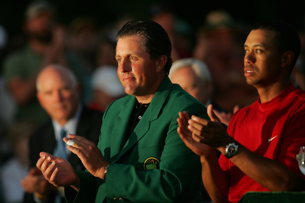 Tiger Woods.Phil Mickelson..2005 Masters Tournament.Final round.Sunday, April 10 2005.Augusta National GC.Augusta, GA..photograph by Darren Carroll.4-10-05