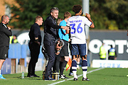 Bury Manager, Ryan Lowe gives instruction to goalscorer Bury Forward, Nicky Maynard (36)  during the EFL Sky Bet League 2 match between Bury and Mansfield Town at the JD Stadium, Bury, England on 6 October 2018.