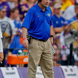 Oct 12, 2013; Baton Rouge, LA, USA; Florida Gators head coach Will Muschamp against the LSU Tigers during the second half of a game at Tiger Stadium. LSU defeated Florida 17-6. Mandatory Credit: Derick E. Hingle-USA TODAY Sports