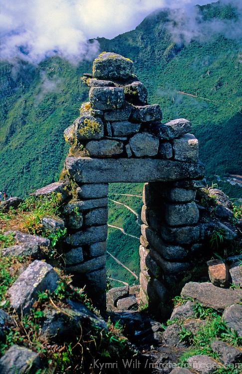 South America; Peru; Machu Picchu. Window of stones.
