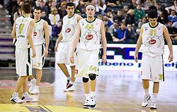 Jaka Klobucar (8) of Olimpija, Sani Becirovic (7) of Olimpija,  Edin Bavcic (9) of Olimpija, Matt Vincent Walsh (44) of Olimpija and Saso Ozbolt (31) of Olimpija at Euroleague basketball match between KK Union Olimpija, Ljubljana and CSKA Moscow, on January 7, 2010 in Arena Tivoli, Ljubljana, Slovenia. CSKA defeated Olimpija 80:77 after overtime. (Photo by Vid Ponikvar / Sportida)