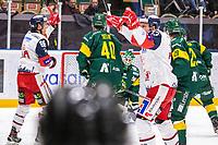2019-10-15   Umeå, Sweden: Västervik (73) Alexis Binner makes the first goal in HockeyAllsvenskan during the game  between Björklöven and Västervik at A3 Arena ( Photo by: Michael Lundström   Swe Press Photo )<br /> <br /> Keywords: Umeå, Hockey, HockeyAllsvenskan, A3 Arena, Björklöven, Västervik, happy happiness celebration celebrates, mlbv191015