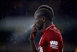 WOLVERHAMPTON, ENGLAND - Friday, December 21, 2018: Liverpool's Sadio Mane clears his nostril during the FA Premier League match between Wolverhampton Wanderers FC and Liverpool FC at Molineux Stadium. (Pic by David Rawcliffe/Propaganda)