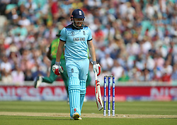England's Jonny Bairstow looks dejected after being caught by South Africa's Quinton de Kock during the ICC Cricket World Cup group stage match at The Oval, London.