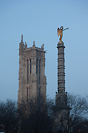 France. Paris. The column of the place du chatelet and saint Jacques tower in the distance,