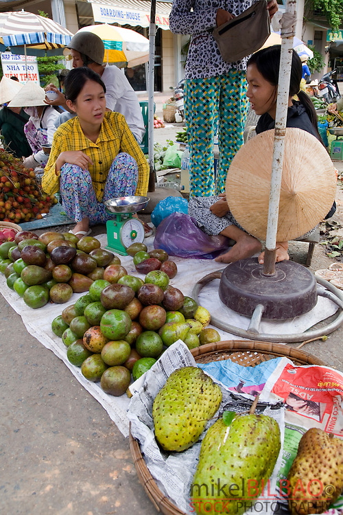 stall and people in a food street market.<br />