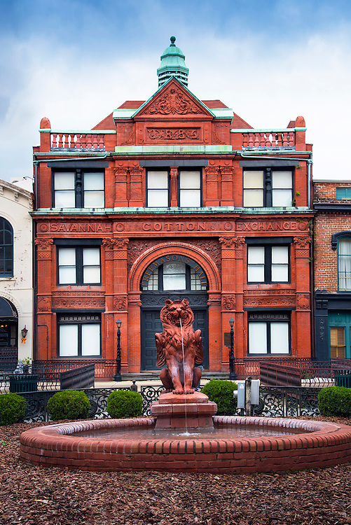 A mythical winged griffin fountain fronts the Savannah Cotton Exchange building.  The building is a reminder of Savannah's standing as a major cotton producer in the 19th century, and is one of the best surviving examples of the Romanesque Revival period of architecture.