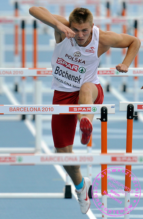 DOMINIK BOCHENEK (POLAND) COMPETES IN THE MEN'S 110 METERS HURDLES SEMIFINAL DURING THE 2010 EUROPEAN ATHLETICS CHAMPIONSHIPS AT OLYMPIC STADIUM IN BARCELONA, SPAIN...SPAIN , BARCELONA , JULY 30, 2010..( PHOTO BY ADAM NURKIEWICZ / MEDIASPORT )..PICTURE ALSO AVAIBLE IN RAW OR TIFF FORMAT ON SPECIAL REQUEST.