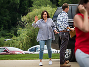 "04 JULY 2019 - INDIANOLA, IOWA: US Senator KAMALA HARRIS (D-CA) arrives at a campaign event in Indianola Thursday afternoon. Sen. Harris attended a ""house party"" in Indianola as a part of her campaign to be the Democratic nominee for the US presidency in 2020. Iowa traditionally holds the first selection of the presidential election cycle. The Iowa caucuses are Feb. 3, 2020.       PHOTO BY JACK KURTZ"