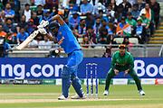 Wicket - Hardik Pandya of India gets an edge and is caught by Soumya Sarkar of Bangladesh off the bowling of Mustafizur Rahman of Bangladesh during the ICC Cricket World Cup 2019 match between Bangladesh and India at Edgbaston, Birmingham, United Kingdom on 2 July 2019.
