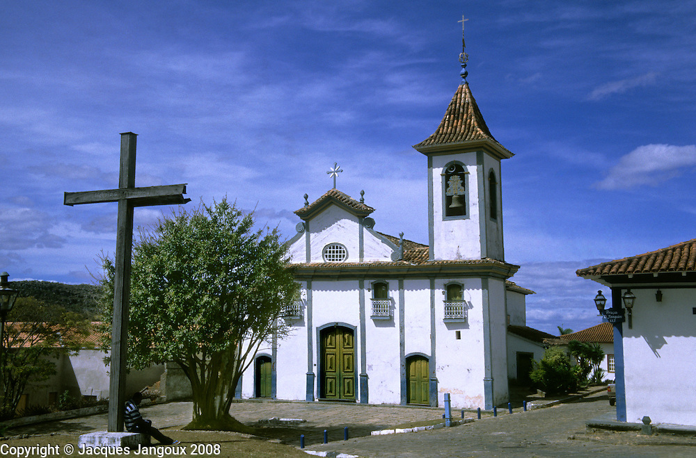 Nossa Senhora do Rosario dos Pretos church, built by slaves in 1731,  in Diamantina, center of diamond mining during the diamond and gold boom in the mid 18th century, Minas Gerais, Brazil