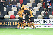 Alex Rodman of Newport County celebrates his goal during the Sky Bet League 2 match between Newport County and AFC Wimbledon at Rodney Parade, Newport, Wales on 19 December 2015. Photo by Stuart Butcher.
