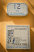 Pensione address and quality certification plaque, Riomaggiore, Cinque Terre, Liguria, Italy