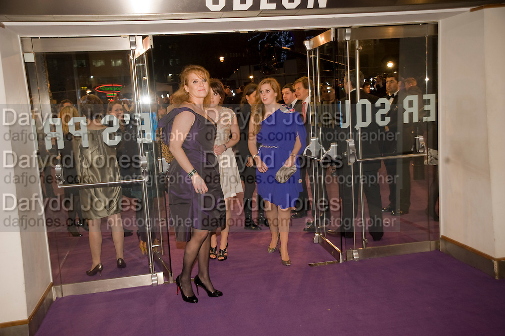 THE DUCHESS OF YORK; PRINCESS EUGENIE; PRINCESS BEATRICE. The World Premiere of Young Victoria in aid of Children in Crisis and St. John Ambulance. Odeon Leicesgter Sq. and afterwards at Kensington Palace. 3 March 2009 *** Local Caption *** -DO NOT ARCHIVE -Copyright Photograph by Dafydd Jones. 248 Clapham Rd. London SW9 0PZ. Tel 0207 820 0771. www.dafjones.com<br /> THE DUCHESS OF YORK; PRINCESS EUGENIE; PRINCESS BEATRICE. The World Premiere of Young Victoria in aid of Children in Crisis and St. John Ambulance. Odeon Leicesgter Sq. and afterwards at Kensington Palace. 3 March 2009