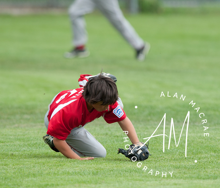 Laconia's Andrew Salta dives for a fly ball in game one of the 11 & 12 year old all star championship against Portsmouth at Laconia's Colby Field on Saturday, July 7, 2010.  (Alan MacRae/for the Citizen)