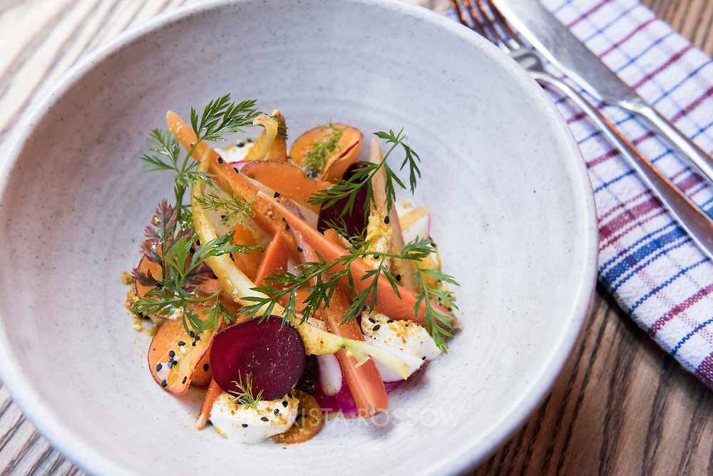 A bowl of radish, carrot, and beetroot salad with smoked yogurt, almond sukkah, and fenugreek honey. Shepherd is a new restaurant located in the Hannahs Factory laneway in Te Aro, Wellington, New Zealand.