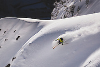 Rob Lea skiing the south face of Mt Superior, Wasatch Mountains.