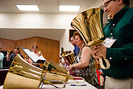 Conference attendees participate in a handbells workshop during the 2017 Institute on Liturgy, Preaching and Church Music on Tuesday, July 25, 2017, at Concordia University Chicago in River Forest, Ill. LCMS Communications/Erik M. Lunsford