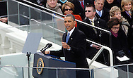 President barack Obama gives his second Inaugural speech at the U S Capitol on January 21, 2013.  Photo by Dennis Brack