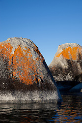 """Boulders on Lake Tahoe 21"" - These orange, black, and grey boulders were photographed in the early morning near Speedboat Beach, Lake Tahoe."