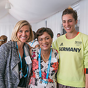 August 24, 2016, New Haven, Connecticut: <br /> Tournament Director Anne Worcester, New Haven Mayor Toni Harp, and Andrea Petkovic of Germany attend the Mayor's Women's Legislators Luncheon during Day 6 of the 2016 Connecticut Open at the Yale University Tennis Center on Wednesday, August  24, 2016 in New Haven, Connecticut. <br /> (Photo by Billie Weiss/Connecticut Open)