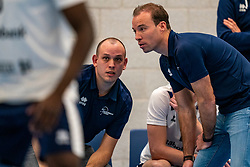 Trainer Marnix Elbers of Sliedrecht, Trainer Coach Paul van der Ven of Sliedrecht in action in the second round between Sliedrecht Sport and Draisma Dynamo on February 29, 2020 in sports hall de Basis, Sliedrecht