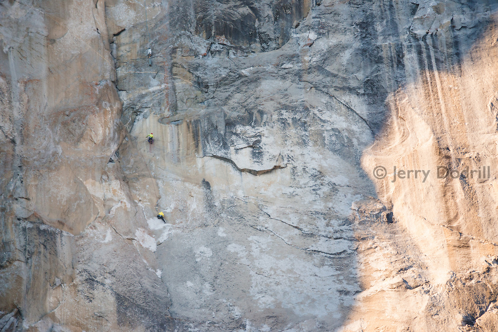 Rock climbers Tommy Caldwell and Kevin Jorgeson high on El Capitan's Dawn Wall during the 18th day of their historic first ascent in Yosemite National Park in January of 2015.
