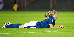 LLANELLI, WALES - Monday, August 19, 2013: France's Lea Declercq looks dejected after missing a chance against England during the Group A match of the UEFA Women's Under-19 Championship Wales 2013 tournament at Stebonheath Park. (Pic by David Rawcliffe/Propaganda)