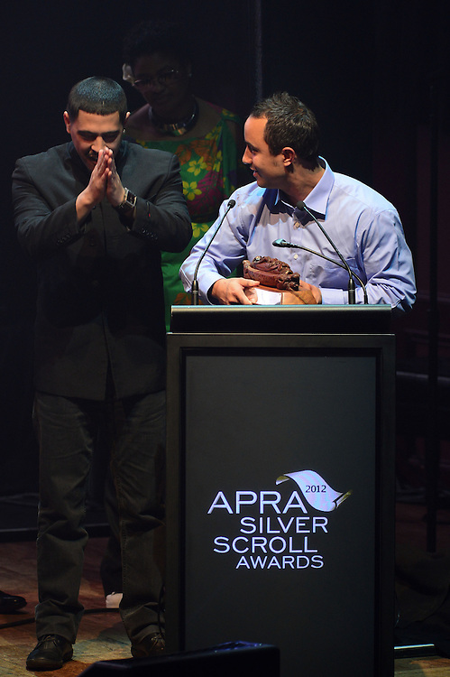 David Atai and Te Awanui Reeder, winners of the APRA Maioha Award at the APRA Silver Scrolls Awards 2012. Auckland Town Hall. 13 September 2012.