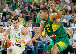 Goran Dragic of Slovenia vs Rafael Hettsheimer of Brasil during friendly basketball match between National Teams of Slovenia and Brasil at Day 2 of Telemach Tournament on August 22, 2014 in Arena Stozice, Ljubljana, Slovenia. Photo by Vid Ponikvar / Sportida