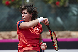April 21, 2018 - La Manga, Murcia, Spain - Carla Suarez Navarro of Spain in action in his match against Veronica Cepede Royg of Paraguay during day one of the Fedcup World Group II Play-offs match between Spain and Paraguay at Centro de Tenis La Manga Club on April 21, 2018 in La Manga, Spain  (Credit Image: © David Aliaga/NurPhoto via ZUMA Press)