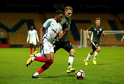Dujon Sterling of England takes on Gian-Luca Itter of Germany Under 19s  - Mandatory by-line: Robbie Stephenson/JMP - 05/09/2017 - FOOTBALL - One Call Stadium - Mansfield, United Kingdom - England U19 v Germany U19 - International Friendly
