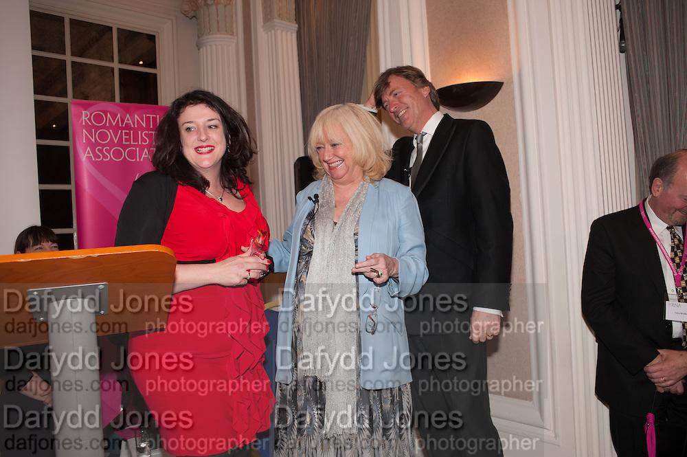 ROWAN COLEMAN; JUDY FINNIGAN; RICHARD MADELEY, Romantic Novelists Association The RoNas Awards - RICHARD MADELEY & JUDY FINNIGAN - ballroom of the RAF Club, 128 Piccadilly, London. 26 February 2013