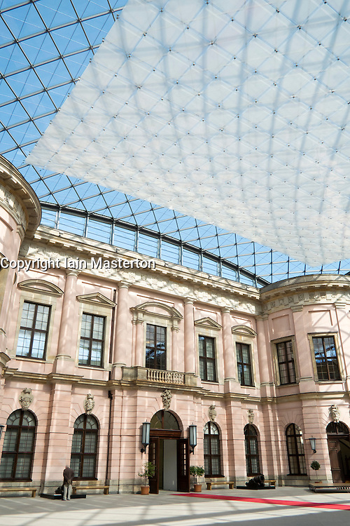 Interior Atrium with modern glass roof at German Historical Museum in Berlin Germany