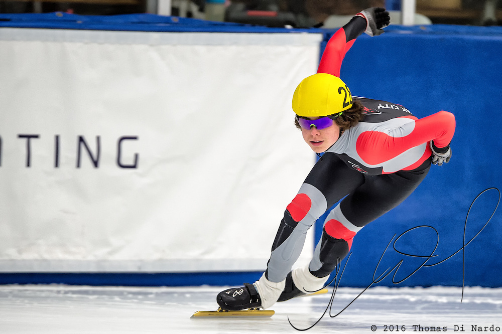March 19, 2016 - Verona, WI - William Valentine, skater number 28 competes in US Speedskating Short Track Age Group Nationals and AmCup Final held at the Verona Ice Arena.